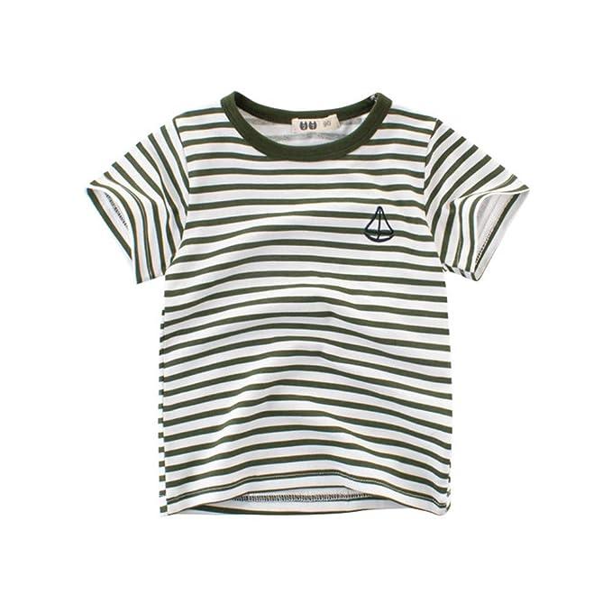 27 Bambini Kids Per Cotone In Estate A T Shirt Ragazzi Righe EH92DI