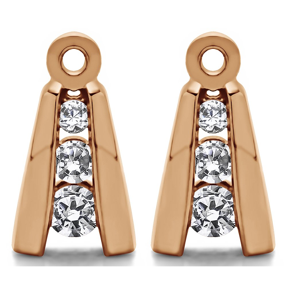 1/5 ct. Forever Brilliant Moissanite by Charles Colvard Moissanite Three Stone Earring Jackets in Rose Gold Plated Sterling Silver (0.19 ct. twt.)