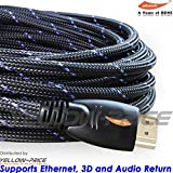 YellowKnife - High Speed 10.2Gbps 30FT HDMI Cable 1080p Full HD with Nylon Protective Braided Jacket