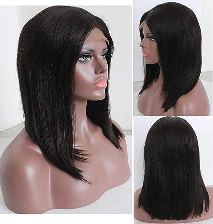 Peluca de pelo natural de LEOMI: pelo humano brasileño liso y virgen, peluca de