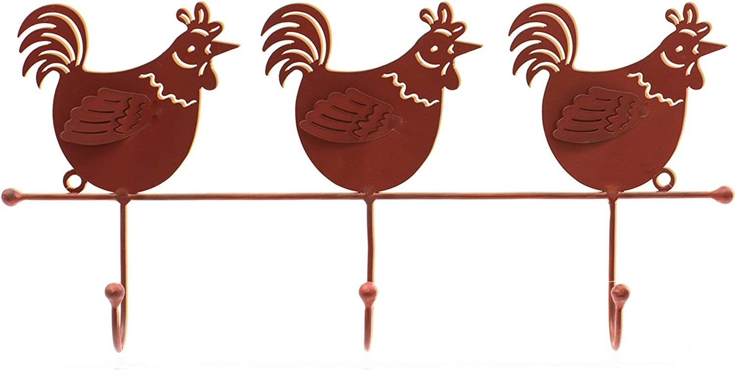 OSW Brick Red Rooster Metal Wall Decor Hooks for Rustic Country Farmhouse Chicken Kitchen Decorations for Hanging Your Coat, Keys, Utensils, Towels and More