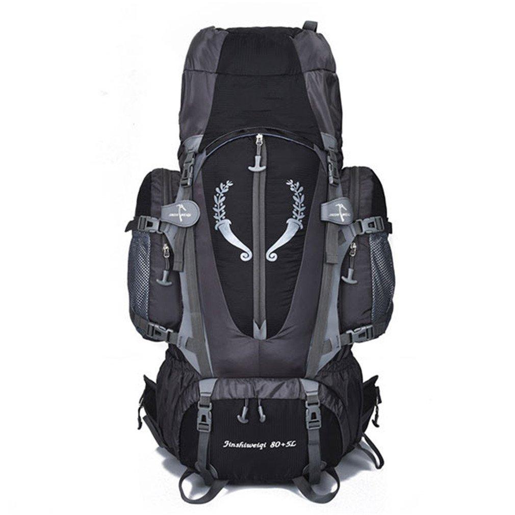 大きな85lアウトドアバックパック旅行多目的登山バックパック B07CQP7GLL ブラック