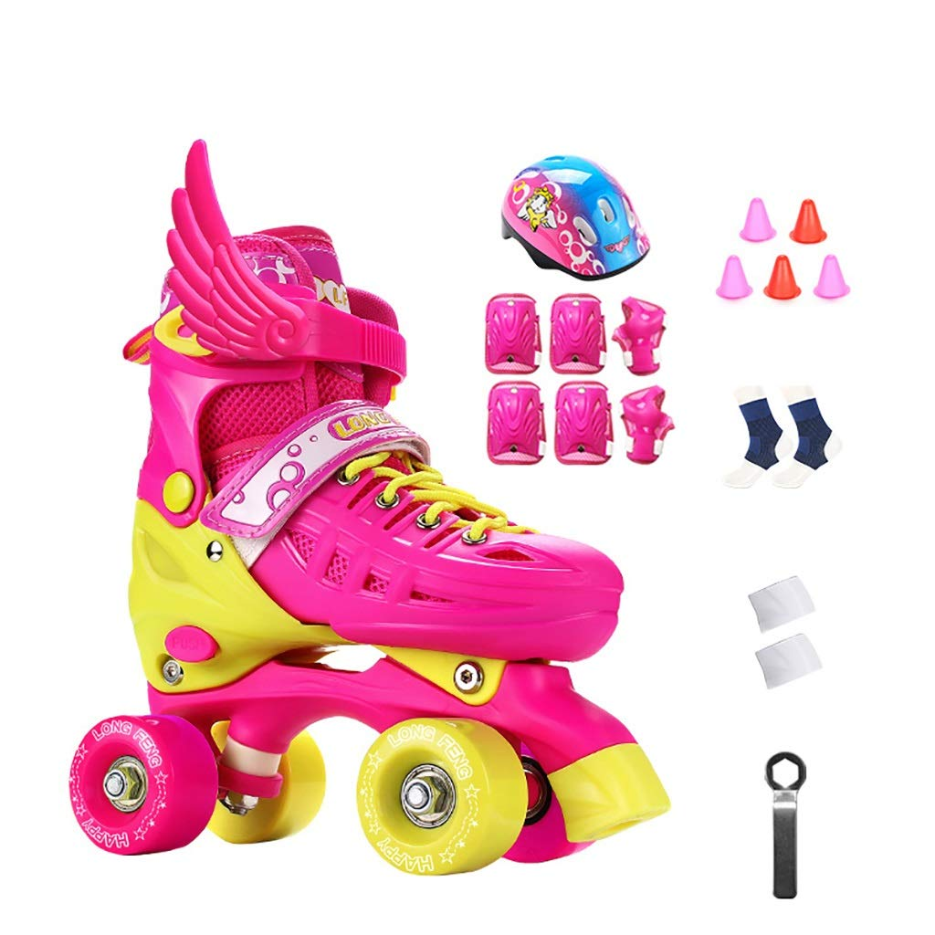 Kids Double Row Skates Pink Boy Girl Roller Skates Adjustable Size (Color : Pink2, Size : EU33/JP21.5/US2/UK1)