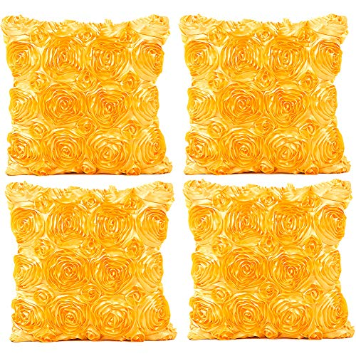 JOTOM Throw Pillow Covers for Sofa Bed Cushion, 3D Solid Color Silks Satins Rose Flower Romantic Love Cushion Covers for Wedding Party Home Decor Set of 4, 18'' x 18'' (Yellow)