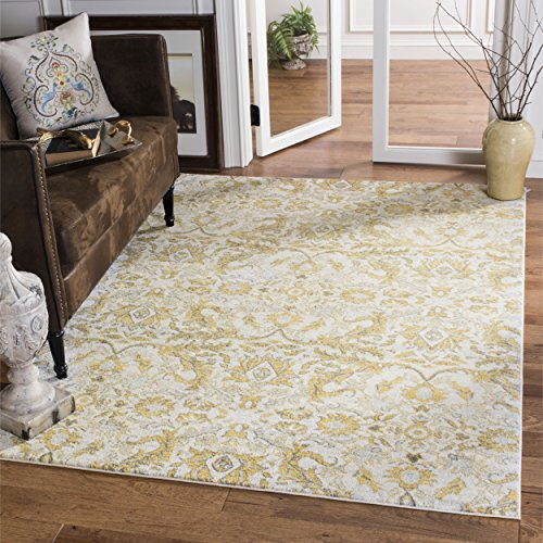Safavieh Evoke Collection EVK238S Contemporary Ivory and Gold Area Rug (4' x 6')