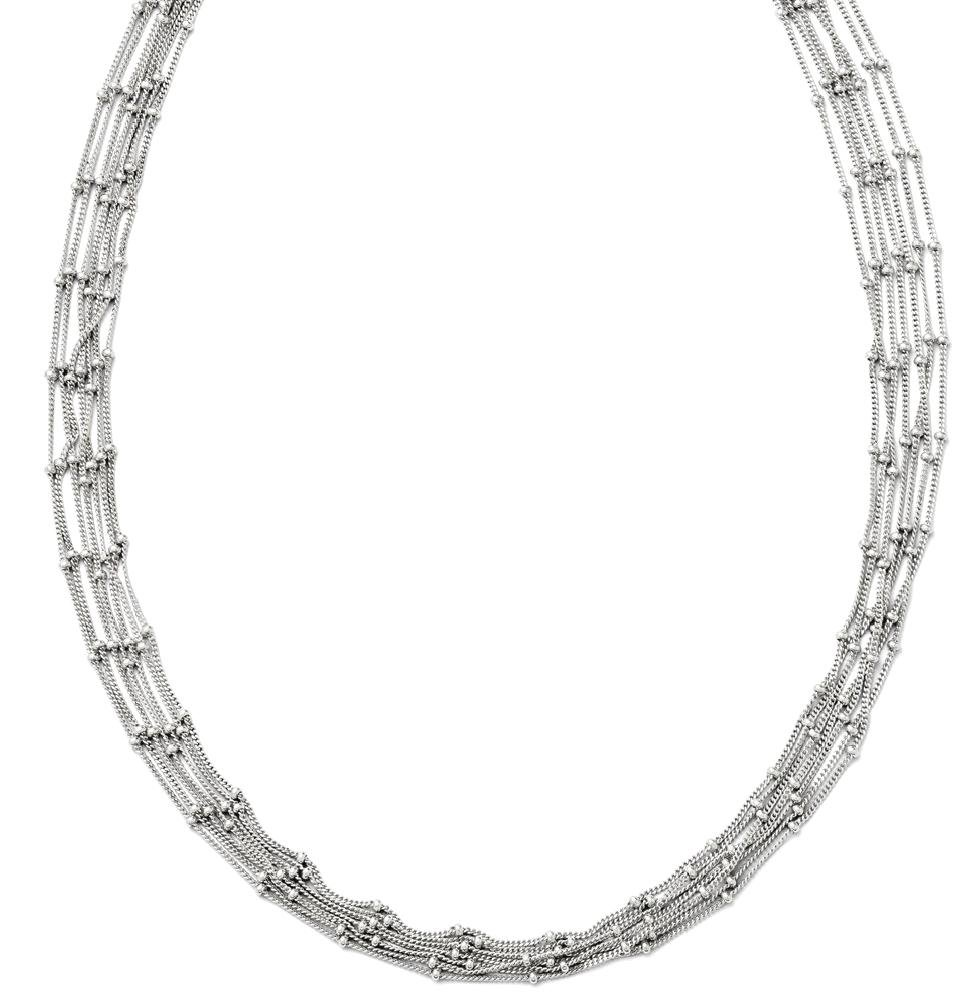 ICE CARATS 925 Sterling Silver Seven Strand Beaded Chain Necklace Bead Station Fine Jewelry Gift Set For Women Heart