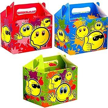 German Trendseller® - 8 x cajitas sonriente de cumpleaños ┃smiley ┃con asa para llenar ┃para regalo ┃fiestas infantiles┃ idea de regalo┃cumpleaños de ...