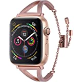 V-MORO Bands Compatible with Apple Watch 38mm 40mm Straps Metal Stainless Steel Bracelet for Apple Watch Series 4 3 2 1 (Match Gold Aluminium Case)