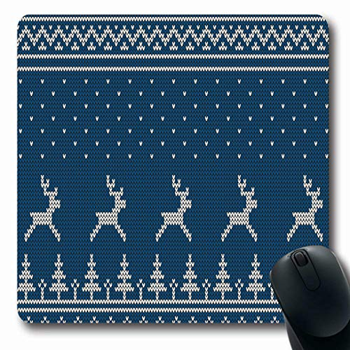 - Ahawoso Mousepads for Computers Norway Blue Christmas Knitted Scandinavian Pattern Deer Wool Firs Nordic Fair Festive Handicraft Oblong Shape 7.9 x 9.5 Inches Non-Slip Oblong Gaming Mouse Pad
