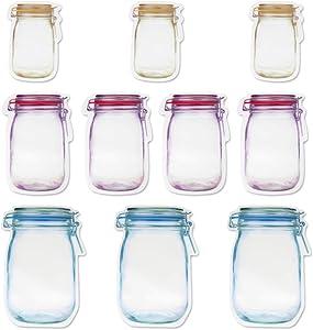 NUOCHUANG Mason Jar Zipper Bags, 3 Size Mason Bottle Zipper Bag, Portable & Reusable Seal Airtight Food Saver Storage Bags Kitchen Organizers for Travel, Camping, Picnic, 10 Packs