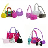 Fmingdou 4 Pcs Cute Bags Colorful Shoulder Handbag Doll Accessories for Barbie Doll Baby Girl Kids Toy Gift