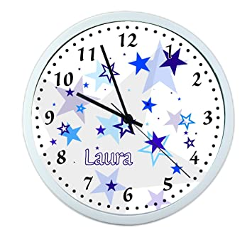 Creadesign Kinder Wanduhren Lautlos Uhr Mit Wunsch Namen Kinderuhr Coole Deko Furs Kinderzimmer Ideal Fur Madchen Und Jungen Motiv Sterne