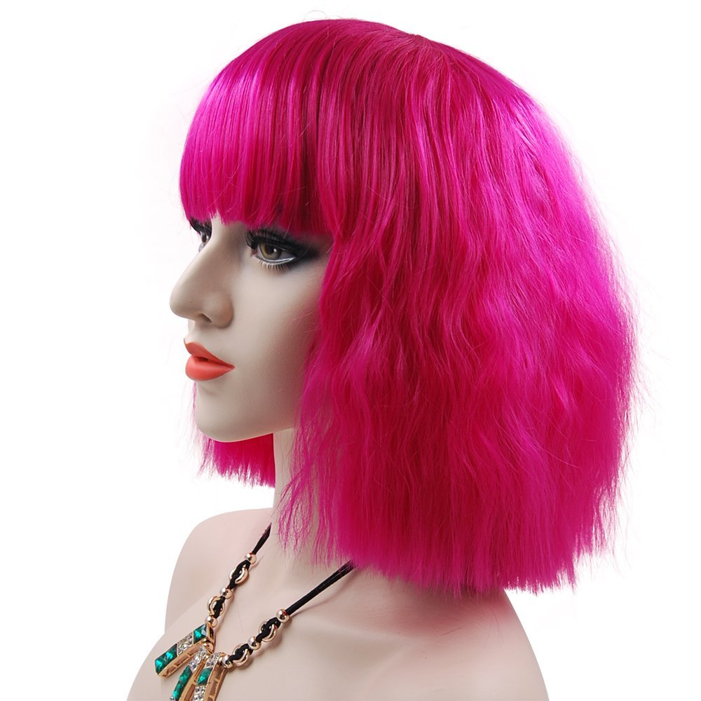 eNilecor Women Short Bob Fluffy Hair Full Wigs with Bangs Heat Resistant Kinky Straight Custom Cosplay Party Wigs (Rose Hot Pink)