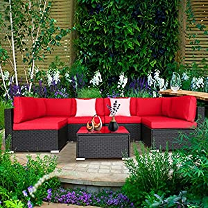 MengFeiNi 7 Pcs Outdoor PE Rattan Sectional Sofa Set Red