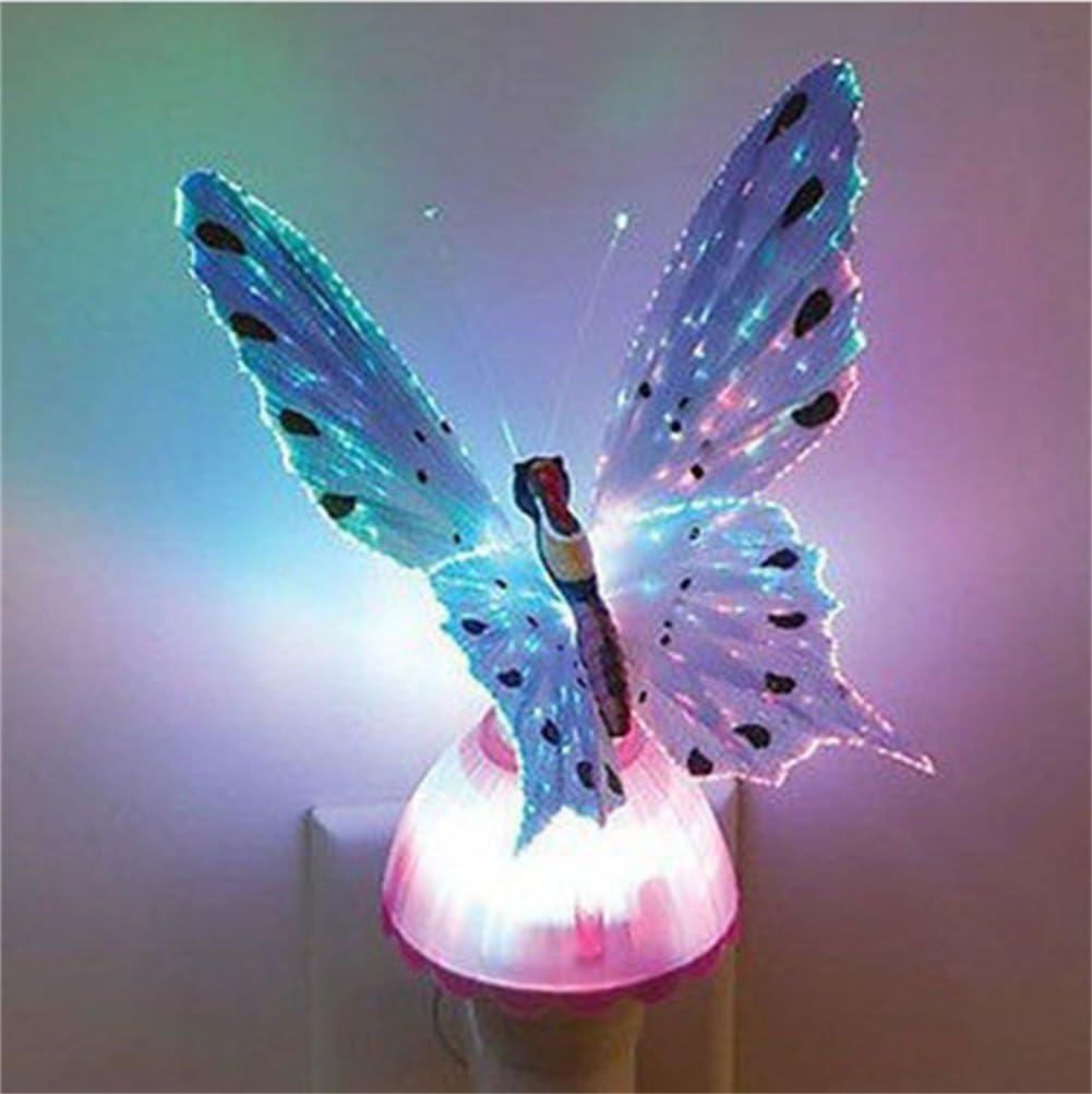 Fiber Optic Butterfly Colorful Changeable LED Night Light Lamp for Children 110v-220v Romantic Holiday Wall Lights nightlight (Purple)