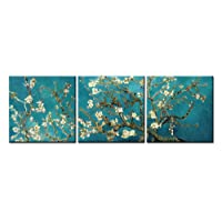 Quadri decorativi per la casa, su tela, motivo: mandorlo in fiore di Van Gogh, del 1890, riproduzione Giclée su 3 pannelli, con tela stesa e incorniciata, per la decorazione del soggiorno, personalizzabili