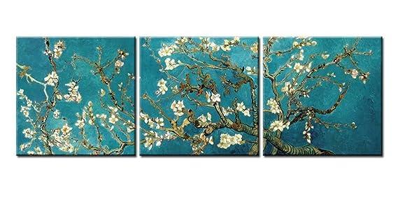 Impresión de Lienzo de Pared Arte Pintura para Decoración para el hogar pintura de ramas de un diseño de almendro en flor artes 3 piezas Panel pinturas ...