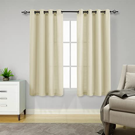 Semi Sheer Curtains For Living Room 63 Inches Long Casual Weave Textured  Privacy Window Curtain Panels