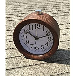 ZHENAI Black Walnut Red Rosewood Solid Wood Creative Student Bedside Alarm Clock Lazy Snooze Mute Function Nightlight Office (Color : A)
