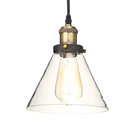 Home Luminaire 31678 Almanor 1-Light Clear Glass Industrial Pendant with 3 ft. Cord, Antique Brass Bronze Finish