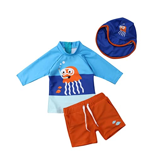 19987ffd02 Amazon.com: Toddler Baby Boy Swimsuit Long Sleeve Sunsuit Short Pants Hat  with UPF 50+ Sun Protection 3Pcs Fish Swimwear: Clothing