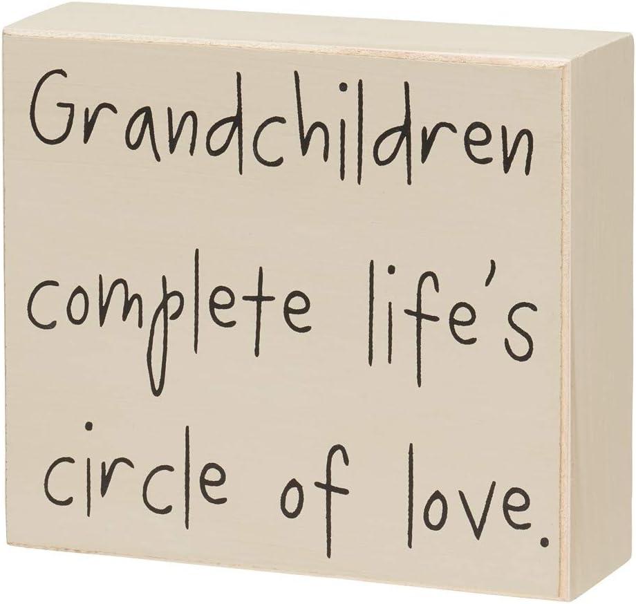 "Collins 4.75"" Mini Wood Block Sign Grandchildren Complete Life's Circle."