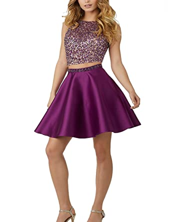 Vanial 2 Piece Beaded Homecoming Dresses Short Satin Prom Gown Grape Size 2