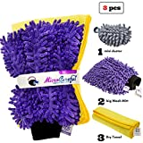 #7: [3 piece] MicroCareful Premium Car Wash Mitt + free Towel and Duster, Professional Microfiber Lint-Free Scrath-Free Washing Kit for Vans, Taxis and Automobiles by RouteGurus