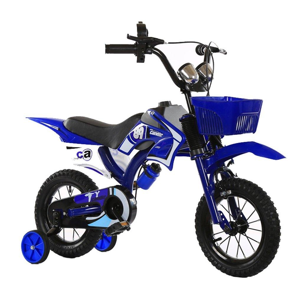 KANGR-子ども用自転車 アウトドア子供用自転車シミュレーションオートバイの設計に適した2-5-8少年少女トレーニングホイール付きキッドバイク-12 / 14/16/18インチ ( 色 : 青 , サイズ さいず : 12 inch ) B07BTTBB29 12 inch|青 青 12 inch