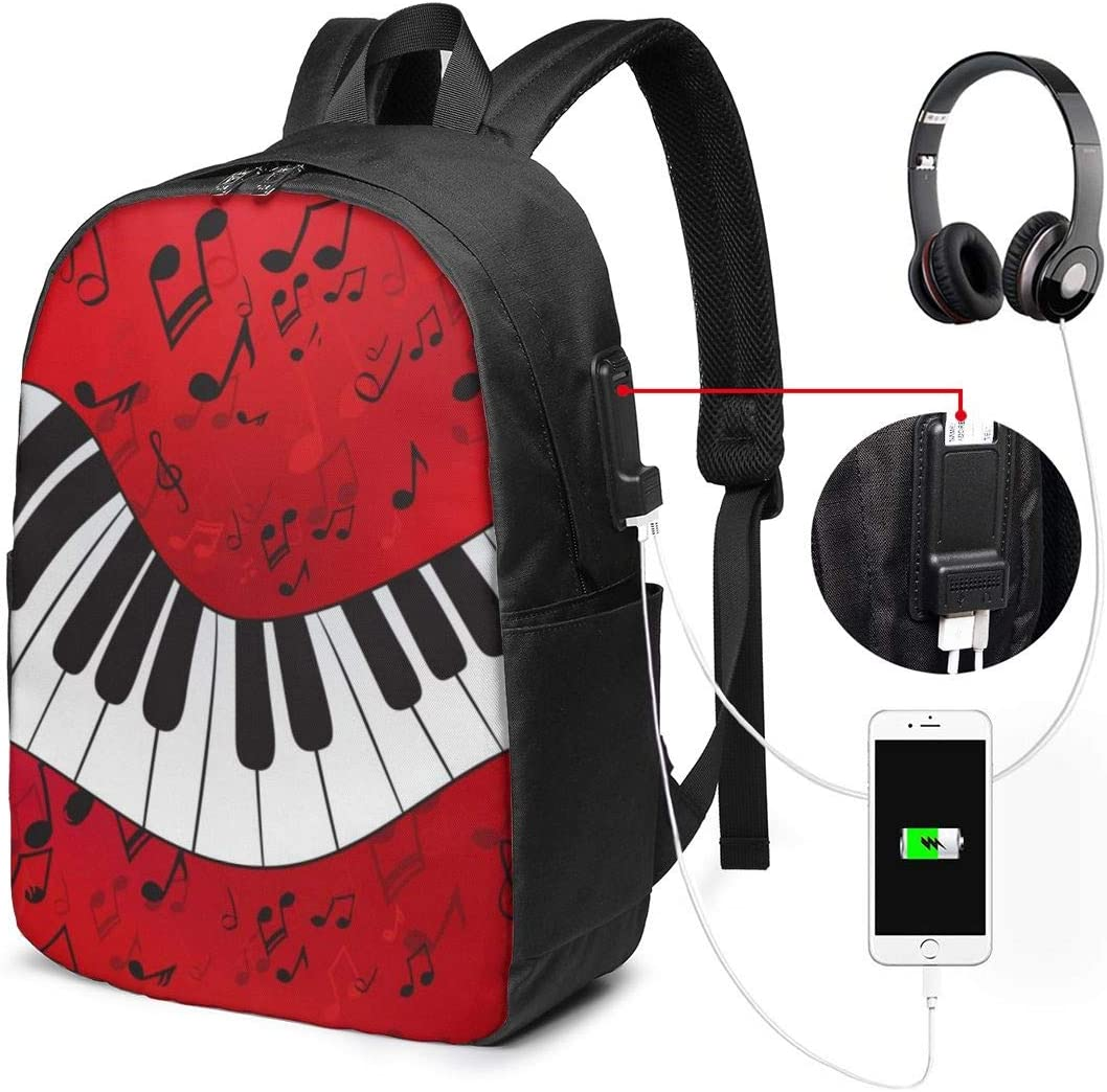 Piano Music Note Laptop Backpack 17 Inch Business Travel Backpacks for Men Women Extra Large College School Bookbags with USB Charging Port Black Mens and Womens Travel Daypack