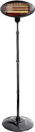 Yorbay Infrarot Heizstrahler Wärmelampe mit Standfuß und Wandhalterung, Mobile elektrisch terrassenstrahler für Balkon Outdoor Garten, 1,3m-2,1m…