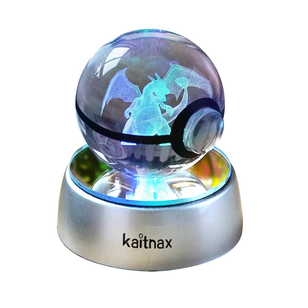 3d Crystal Ball Lamp Laser Engraving Image in the Ball LED Color Change Base (Charizard 1)