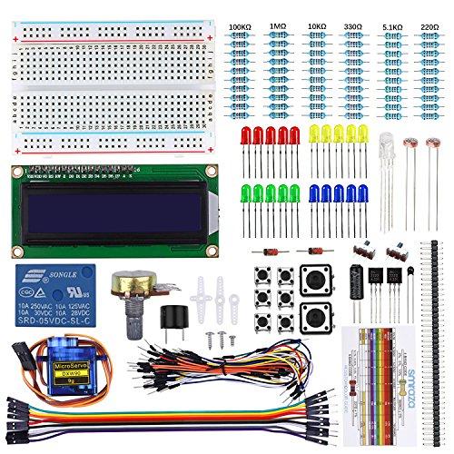 Smraza Basic Starter Kit with Breadboard,Power Supply,Jumper Wires,Resistors,LED for Arduino UNO R3,Mega2560,Nano,Raspberry Pi (LCD 1602 ()