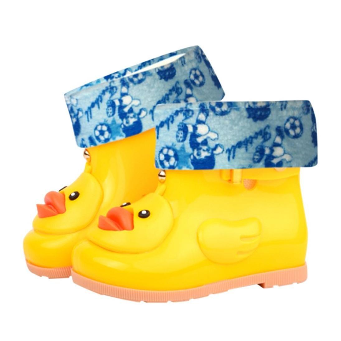 Suma-ma Infant Kids Children Baby Cartoon Duck Rubber Waterproof Warm Boots Rain (yellow, 27)