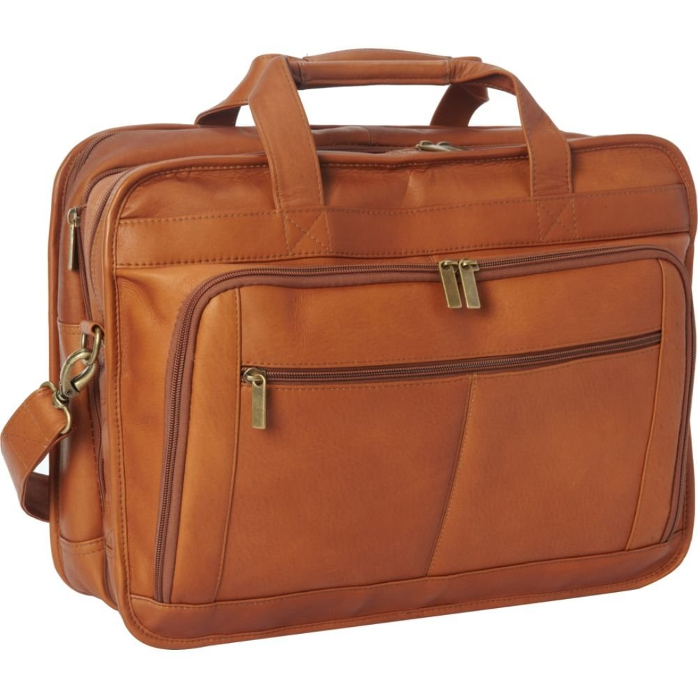 Le Donne Leather TR-1012-Tan Oversized Laptop Brief, Tan
