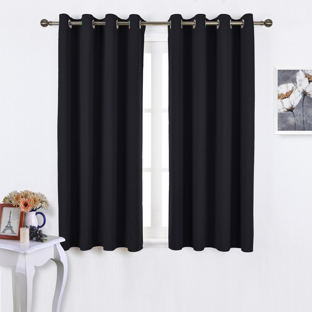 NICETOWN Black Out Curtains for Living Room - Easy Care Solid Thermal Insulated Grommet Blackout Panels / Drapes For Bedroom Window
