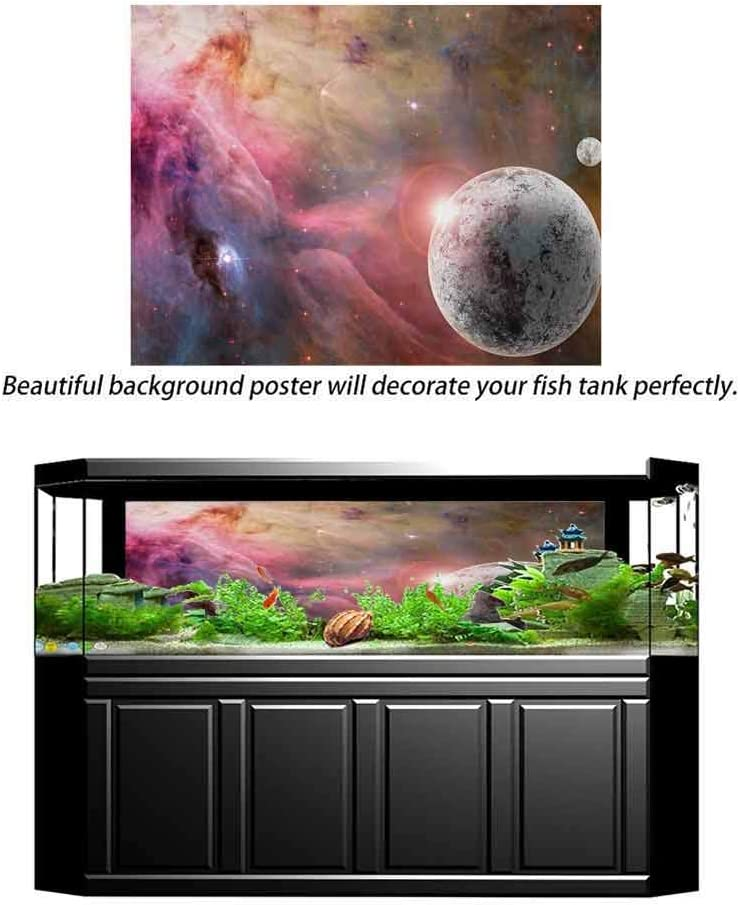 bybyhome HD Aquarium Background Outer Space,Unknown Frozen Planet in a Star Field with Circular Nebula Fog Galactic Energy Image,Pink Paper Poster