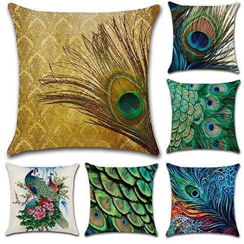 - JOTOM Throw Pillow Covers, 6 Pack Cushion Covers Cotton Linen Decorative Pillowcases for Couch Sofa Car,18 x 18 Inches - Peacock Feathers