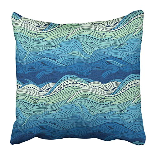 Emvency Decorative Throw Pillow Covers Cases Colorful Swirl Abstract Water Pattern Waves Blue Sea Doodle Curly Storm River Bright Color Curl 20X20 Inches Pillowcases Case Cover Cushion Two Sided ()