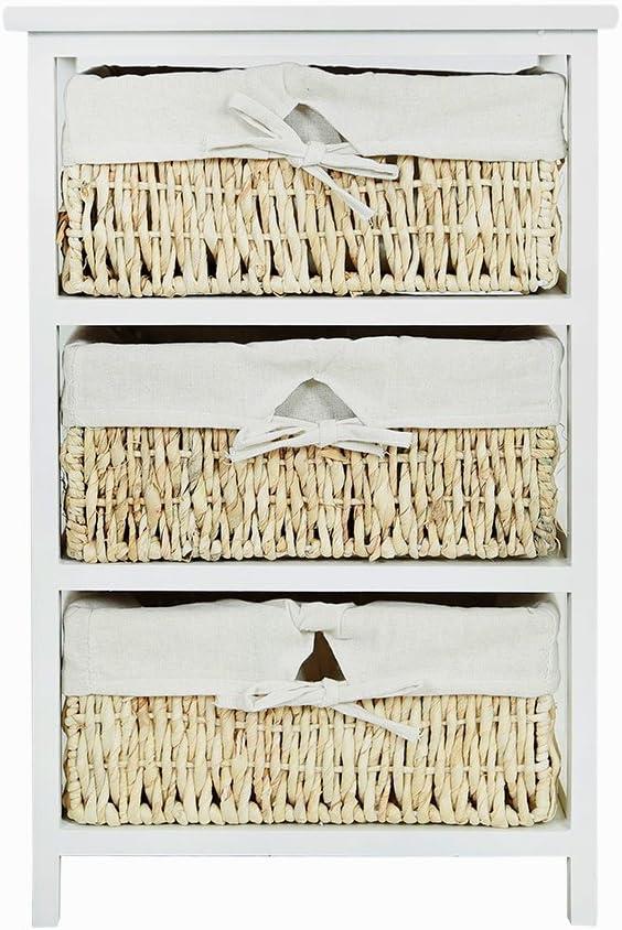 grande cassettiera con 3 cestini in vimini intrecciati Keinode ufficio in stile country soggiorno per casa bagno comodino per camera da letto camera da letto corridoio