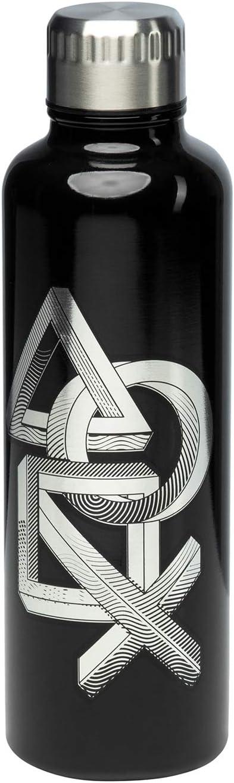 Paladone PP6582PS Botella de Agua metálica Playstation, Juventud Unisex, Negro, 7 x 7 x 24 cm