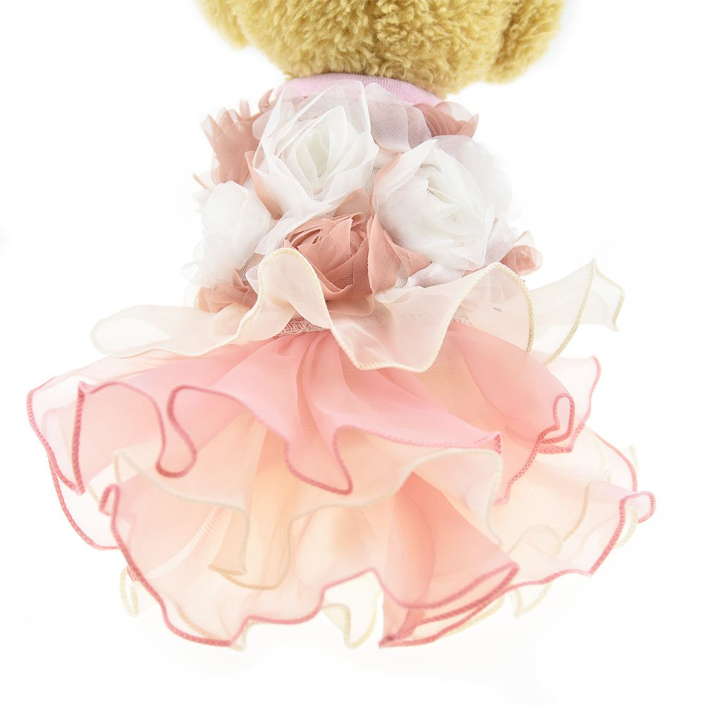 3D Chiffon Rose Dog Dress For Cat Pet Dog Skirt Dog Wedding Dress Outfits Apparel Summer Small Dog Shirt Clothes (L(Back12.9'' Bust18.8), Pink)