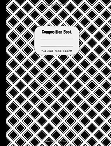 Read Online Woven Black White Wide Ruled Composition Book: 200 Pages, Wide Ruled Lined Notebook, No Side Margins, Student Exercise Book pdf epub