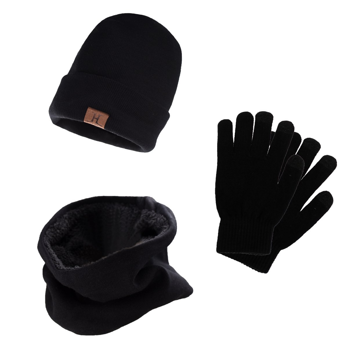 Mens Black Thermal Thinsulate Winter Hat and /'Handy/' Thermal Gloves Set