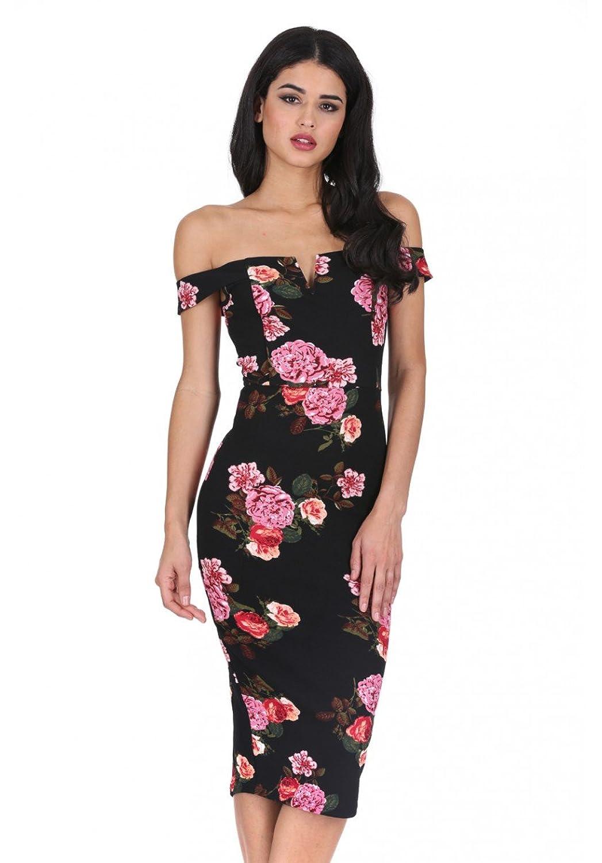 78457050908 Top1  AX Paris Women s Notch Front Off The Shoulder Floral Midi Dress