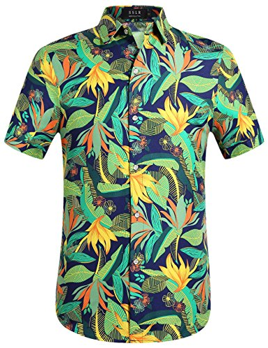 SSLR Mens Print Button Down Casual Short Sleeve Tropical Hawaiian Shirt