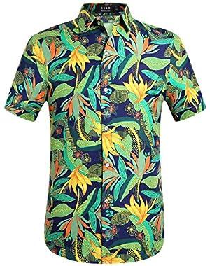 Men's Print Button Down Casual Short Sleeve Tropical Hawaiian Shirt
