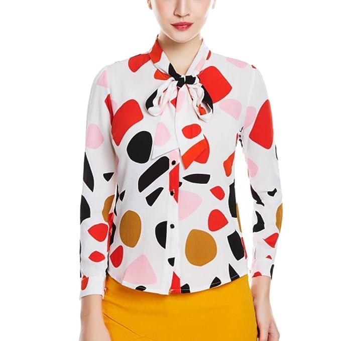 Zhhlinyuan Impresión Bowknot Blusa Gasa Camisa Abotonada Lazo Delantero Casual Tops Para Señoras Chicas Camisas de