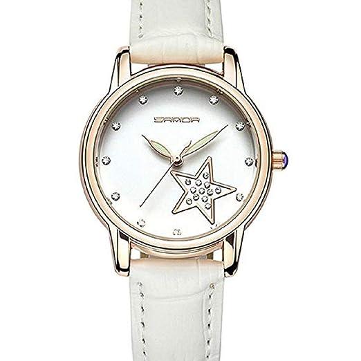Scpink Relojes de Cuarzo para Mujer, Estrella de Diamantes de imitación, Análogo de la
