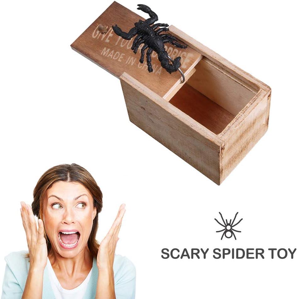 Turbobm H/ölzerne Streich Spinne Scare Box Holzkiste Witz lebensechte Gag Spielzeug /Überraschung lustige praktische Spa/ß Witz boshaften Spielzeug Geschenk Angst ganze schreiende Spielzeug